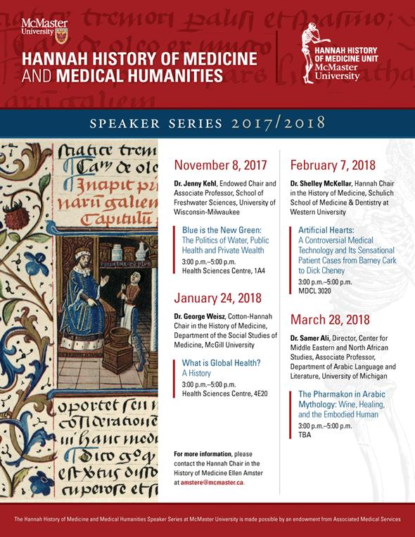 Hannah History of Medicine Speaker Series Poster 2017-2018